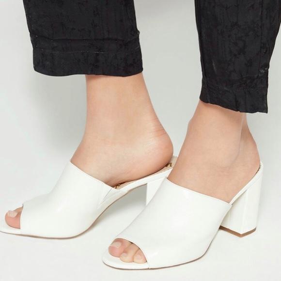 Anne Klein White Mule Heels